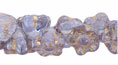Button Style Bead Flower 7mm : Lt. Lavender - Gold Inlay