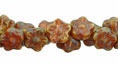 Button Style Bead Flower 7mm : Picasso - Opaque Orange/White