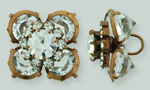 Rhinestone Button - Square Flower 19mm : Antique Copper - Crystal