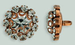 Rhinestone Button - Flower Round 19mm : Antique Copper - Crystal