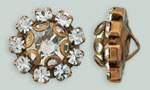 Rhinestone Button - Flower Round 11mm : Antique Copper - Crystal
