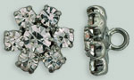 Rhinestone Button - Flower Round 12mm : Gun Metal - Crystal